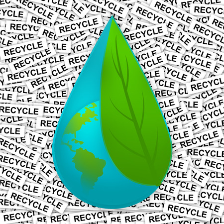 Water Drop With The Earth Inside Cover By Green Leaf For Save Water Concept in Recycle Label Background  photo