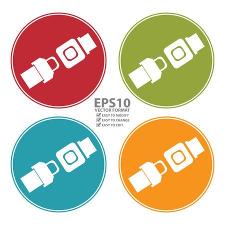 Vector: Kleurrijke Cirkel Seat Belt of Safety Belt pictogram, teken of symbool op een witte achtergrond Stockfoto - 34800218