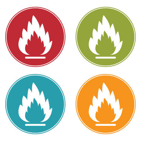 Colorful Circle Fire or Flammable Icon, Sign or Symbol Isolated on White Background