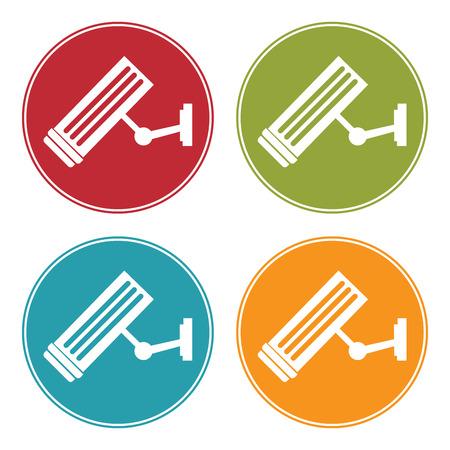 video surveillance symbol: Colorful Circle CCTV or Video Surveillance Icon, Sign or Symbol Isolated on White Background Stock Photo