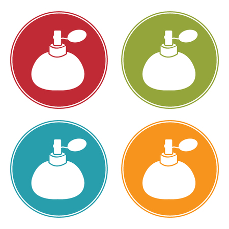 perfumer: Colorful Circle Perfume, Cologne or Fragrance Spray Bottle Icon, Sign or Symbol Isolated on White Background