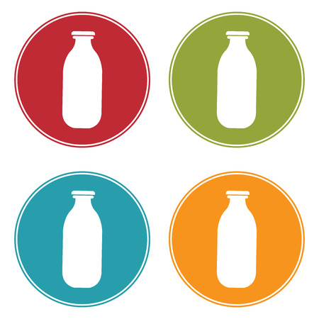 pasteurized: Colorful Circle Milk Bottle Icon, Sign or Symbol Isolated on White Background