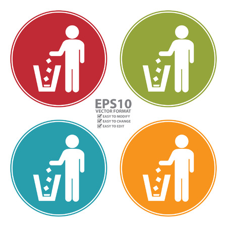 litter bin: Colorful Circle Dustbin, Litter Bin or Trash Can Icon, Sign or Symbol Isolated on White Background