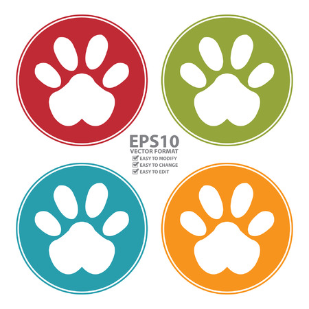 dog paw: Colorful Circle Animal  Illustration