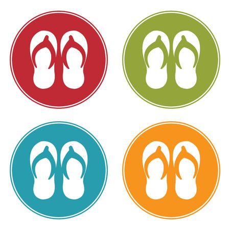 flipflop: Colorful Circle Flipflop, Sandal or Slipper Icon, Sign or Symbol Isolated on White Background