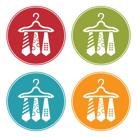 dresscode: Colorful Circle Necktie Hanger Icon, Sign or Symbol Isolated on White Background