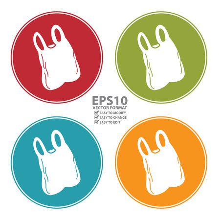 다채로운 원형 플라스틱 가방 아이콘, 기호 또는 기호 흰색 배경에 고립