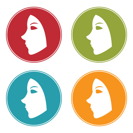 pampering: Colorful Circle Facial Mask Icon, Sign or Symbol Isolated on White Background