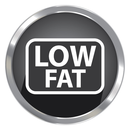 low cal: Circle Shape Black Metallic Style Low Fat Icon, Button or Label Isolated on White Background
