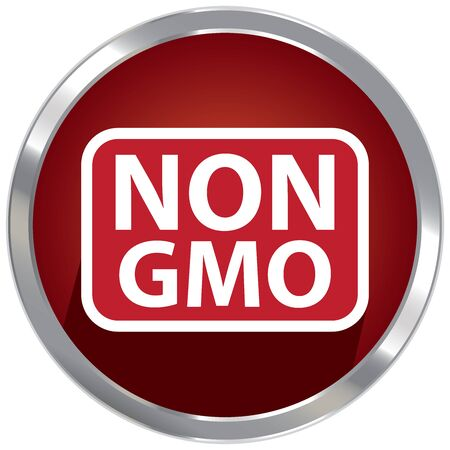 non: Circle Shape Red Metallic Style Non GMO Icon, Button or Label Isolated on White Background Stock Photo