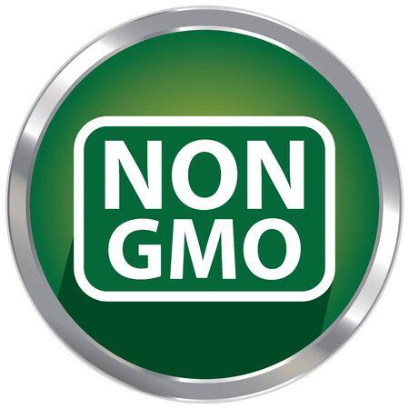non: Circle Shape Green Metallic Style Non GMO Icon, Button or Label Isolated on White Background Stock Photo