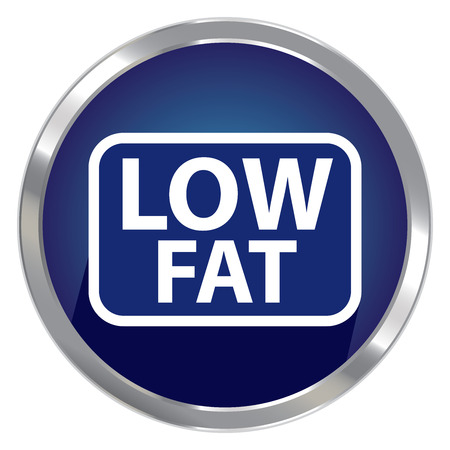 low cal: Circle Shape Blue Metallic Style Low Fat Icon, Button or Label Isolated on White Background Stock Photo