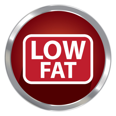 Circle Shape Red Metallic Style Low Fat Icon, Button or Label Isolated on White Background