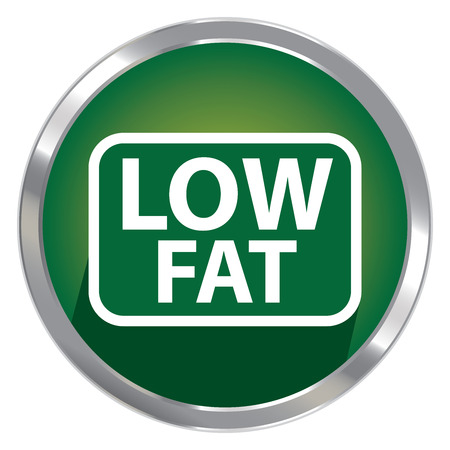 low cal: Circle Shape Green Metallic Style Low Fat Icon, Button or Label Isolated on White Background
