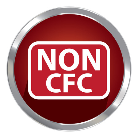 cfc: Circle Shape Red Metallic Style Non CFC Icon, Button or Label Isolated on White Background Stock Photo