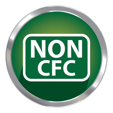 cfc: Circle Shape Green Metallic Style Non CFC Icon, Button or Label Isolated on White Background