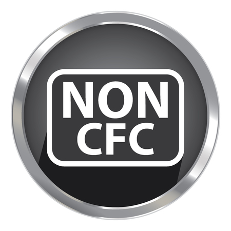 cfc: Circle Shape Black Metallic Style Non CFC Icon, Button or Label Isolated on White Background