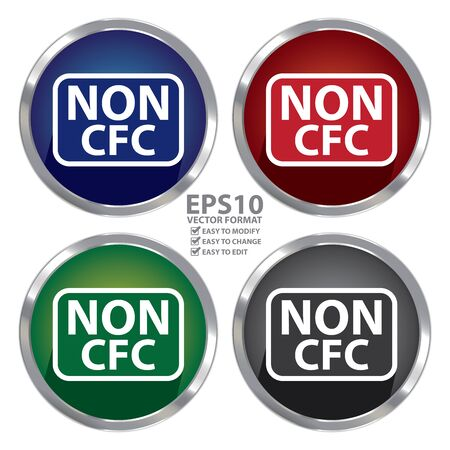cfc: Circle Shape Metallic Style Non CFC Icon, Button or Label Isolated on White Background Illustration