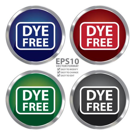 dye: Circle Shape Metallic Style Dye Free Icon, Button or Label Isolated on White Background