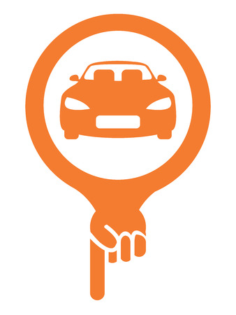 car showroom: Orange Map Pointer Icon With Car, Car Showroom, Car Rental Service or Car Park Sign Isolated on White Background Stock Photo