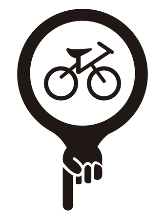 Black Map Pointer Icon With Bicycle, Bicycle Shop or Bicycle Parking Sign Isolated on White Background photo