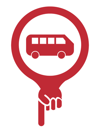 Red Map Pointer Icon With Van, Bus, School Bus or Bus Station Sign Isolated on White Background photo