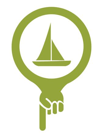 sea seaport: Green Map Pointer Icon With Sailboat, Seaport, Sea Transportation, Sea, Beach, Ocean or Bay Sign Isolated on White Background