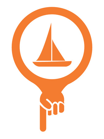 sea seaport: Orange Map Pointer Icon With Sailboat, Seaport, Sea Transportation, Sea, Beach, Ocean or Bay Sign Isolated on White Background