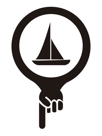 sea seaport: Black Map Pointer Icon With Sailboat, Seaport, Sea Transportation, Sea, Beach, Ocean or Bay Sign Isolated on White Background