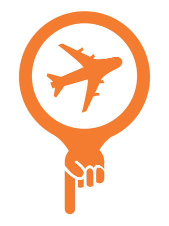 Orange Map Pointer Icon With Aeroplane, Airplane, Airport, Landing Field, or Logistic Sign Isolated on White Background photo