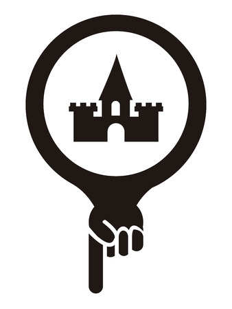 Black Map Pointer Icon With Palace, Historical Place or Amusement Park Sign Isolated on White Background photo