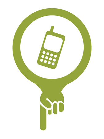 Green Map Pointer Icon With Telephone Service, Mobile Phone Shop Sign Isolated on White Background photo