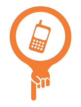 Orange Map Pointer Icon With Telephone Service, Mobile Phone Shop Sign Isolated on White Background photo