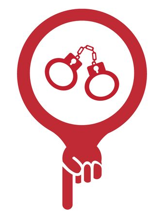 goal cage: Red Map Pointer Icon With Handcuffs, Prison, Jail or Police Station Sign Isolated on White Background Stock Photo