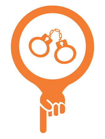 goal cage: Orange Map Pointer Icon With Handcuffs, Prison, Jail or Police Station Sign Isolated on White Background Stock Photo