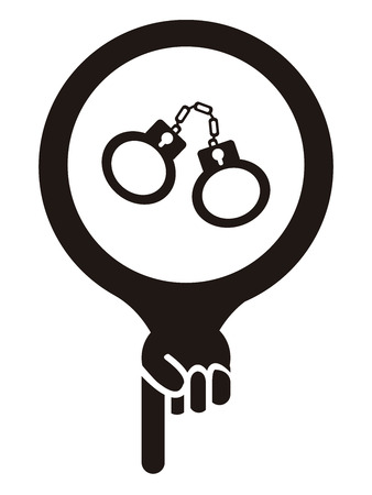 Black Map Pointer Icon With Handcuffs, Prison, Jail or Police Station Sign Isolated on White Background