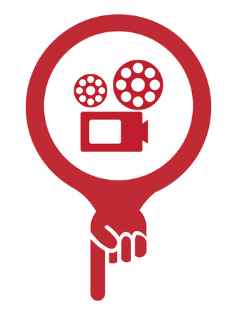Red Map Pointer Icon With VDO Camera, Movie Theater, Cinema or Travel Attraction Sign Isolated on White Background photo