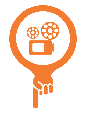 Orange Map Pointer Icon With VDO Camera, Movie Theater, Cinema or Travel Attraction Sign Isolated on White Background photo