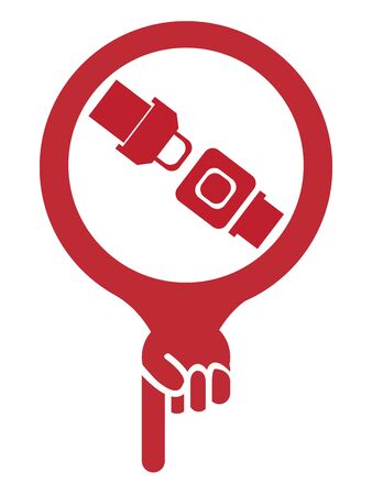 buckled: Red Map Pointer Icon With Seat Belt or Safety Belt Shop Sign Isolated on White Background Stock Photo