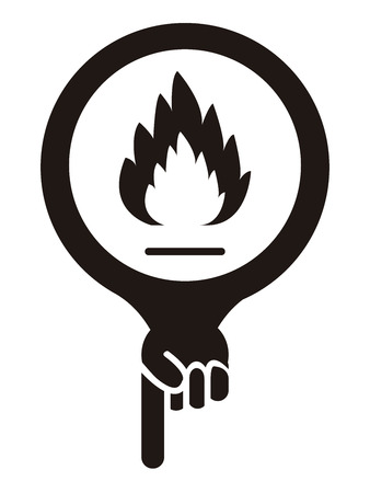 burnable: Black Map Pointer Icon With Fireplace or Fire Alarm Sign Isolated on White Background