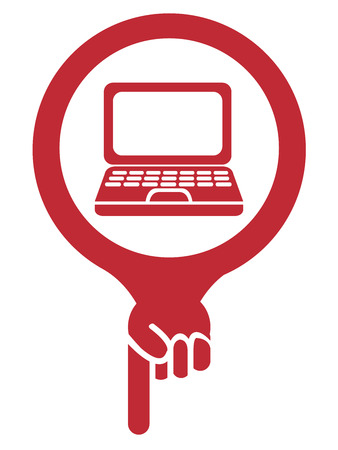 computer repair: Red Map Pointer Icon With Computer Notebook, Laptop, Computer Shop, IT Shop or Computer Repair Service Sign Isolated on White Background