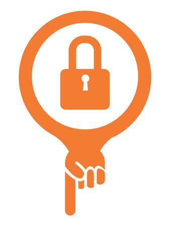 Orange Map Pointer Icon With Key Lock Shop or Locksmith Sign Isolated on White Background