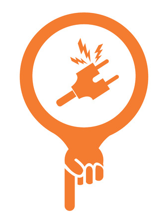 electroshock: Orange Map Pointer Icon With Electrical Plug, Electric Shop or Electrical Mechanic Sign Isolated on White Background