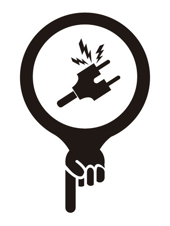 electroshock: Black Map Pointer Icon With Electrical Plug, Electric Shop or Electrical Mechanic Sign Isolated on White Background Stock Photo
