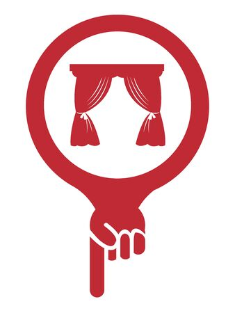 theater sign: Red Map Pointer Icon With Curtain Shop, Cinema, Opera House or Movie Theater Sign Isolated on White Background Stock Photo