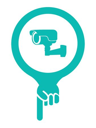 vdo: Blue Map Pointer Icon With Surveillance Camera or CCTV Service Sign Isolated on White Background