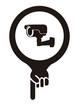 trespass: Black Map Pointer Icon With Surveillance Camera or CCTV Service Sign Isolated on White Background