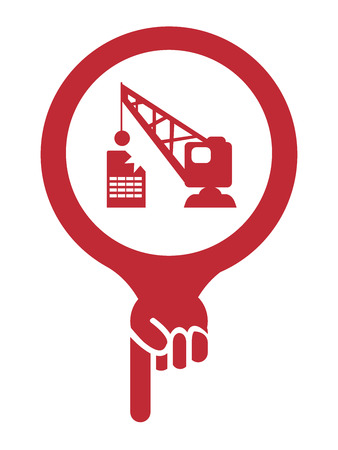 deconstruction: Red Map Pointer Icon With Building Demolition Service Sign Isolated on White Background