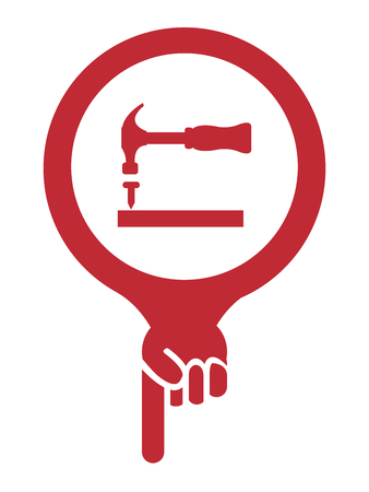 Red Map Pointer Icon With Hammer, Building Service or Woodworker Supply Sign Isolated on White Background photo