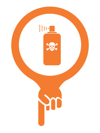 insecticide: Orange Map Pointer Icon With Toxic Spray, Insecticide Spray, Pest Control Service Sign Isolated on White Background
